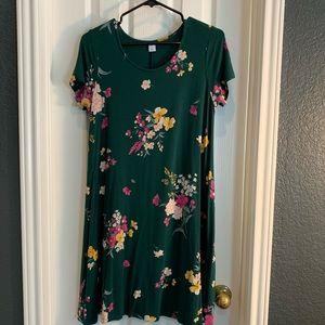 Green Floral Swing Dress
